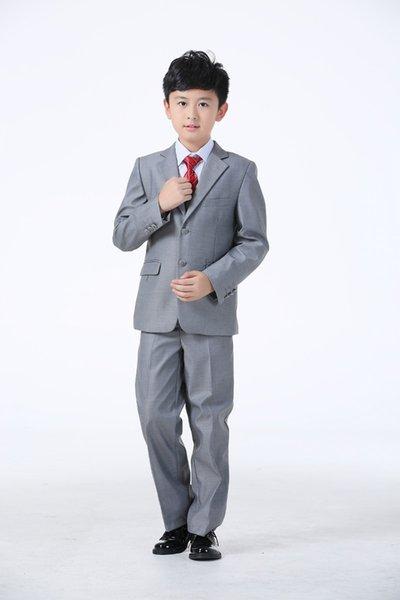 Kinder Hochzeit Anzüge Blazer Mantel + Bluse + Tie + Pants + Weste Kinder Anzüge Kostüm Weiß Schwarz Grau Farbe Hochzeitskleid Junge Anzüge