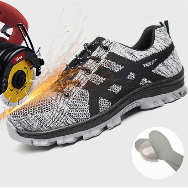 Acero otoño del dedo del pie zapatos de trabajo de seguridad transpirable antideslizante resistente a los pinchazos de construcción Hombre Indestructible Seguridad Botas Hombre