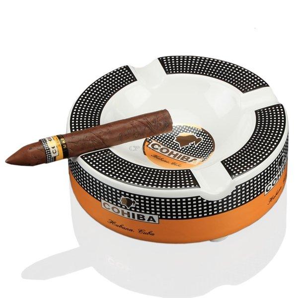 COHIBA portátil de la Cenicero Cenicero de cerámica de lujo Tabaco 4 Resto Cigarrera en la bandeja de ceniza SH190926