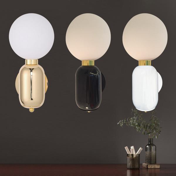 Nordic Design Modern Sconce Wall Lights LED Glass Ball Bedroom Bedside Wall Lamp Loft Home Decor Lighting Fixtures Luminaire