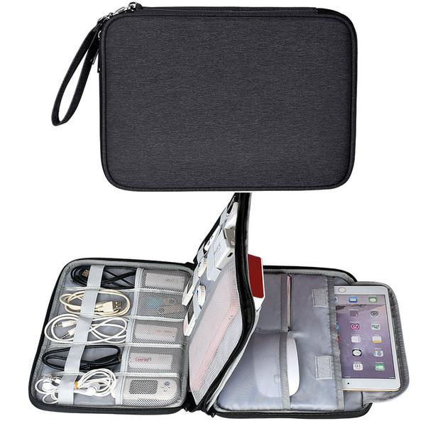 Su geçirmez Elektronik Aksesuarları Organizatör Seyahat Çantası Tablet Saklama Kutusu için iPad Mini Hava 2 Telefon Şarj Güç Bankası Kablosu