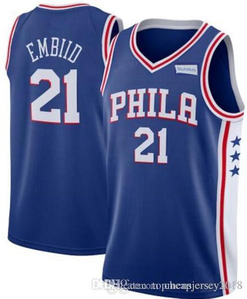 promo code cea64 87ab0 2019 Philadelphia 21 Joel # Embiid Jersey 76ers Jerseys Mens 25 Ben #  Simmons 17 JJ # Redick Basketball Retro Mesh Allen 3 Iverson Jerseys From  ...