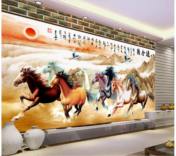 3d wallpaper custom photo Chinese painting horse galloping background living room Home improvement painting 3d wall murals wallpaper