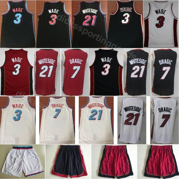 huge discount 41c42 c068b 2019 College Men 3 Dwyane Wade Jerseys Miami Vice City Edition Basketball 7  Goran Dragic 21 Hassan Whiteside Jerseys Red White Black Shorts Pants From  ...