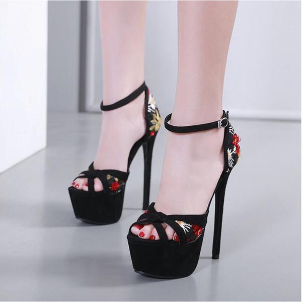 Frete grátis 2019 New Sexy Flock bordado Flor Mulheres plataforma sandálias peep toes Saltos de Verão Fivela Preto Sapatos de Salto Alto 17 cm
