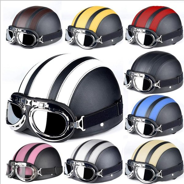 Free Shipping Motorcycle Helmet Motorcycle Scooter Open Face Half Leather Helmet with UV Goggles Retro Vintage Style Motocross Hel E23