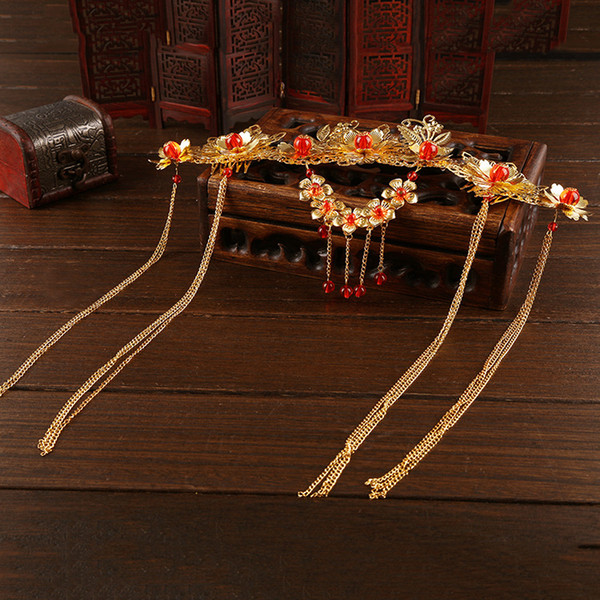 A piece Chinese traditional women fashion gold hair crown vintage jewelry bride wedding hairpin band flower festival gift