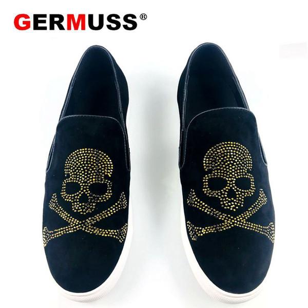 Hombres diseñador de moda de calavera Causal Pisos Mocasines zapatos Mocasines 2019 Hombre High Top zapatos para hombre Sapato Social Masculino