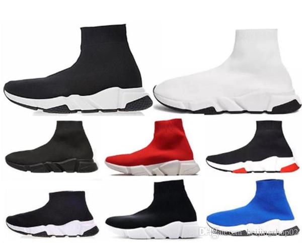 balenciaga ACE casuali del progettista calza scarpe Speed Trainer Nero Rosso triple nero di modo calzini scarpa da tennis scarpe casual 5.5-12