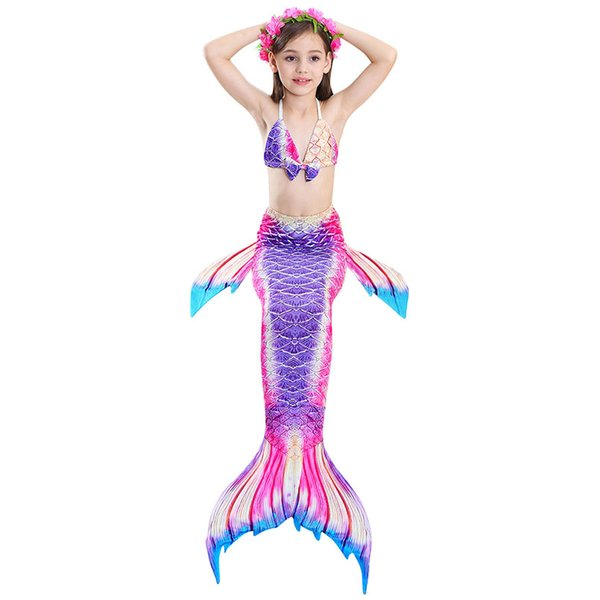 3PCS Swimmable Children Mermaid Tails With Monofin Fin Bikinis Set Girls Kids Swimsuit Mermaid Tail Cosplay Costume for Swimming