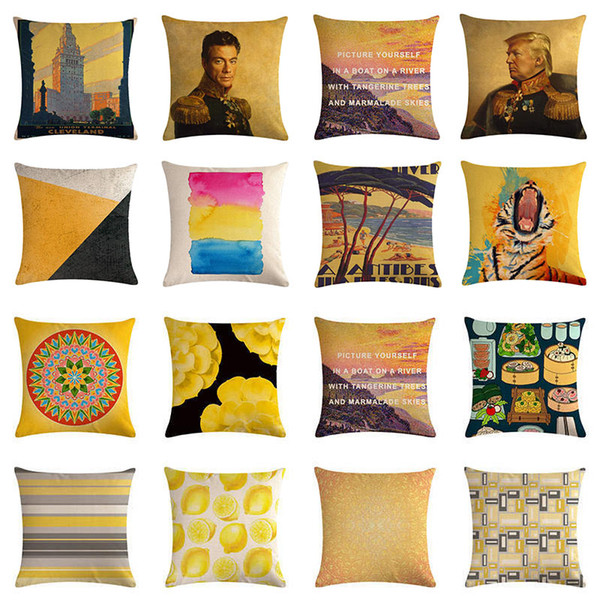 Yellow Geometric Kissenbezug 45x45cm Kissenbezug Baumwolle Leinen Kissenbezug Home Dekorative Dekokissen Abdeckung Für Sofa