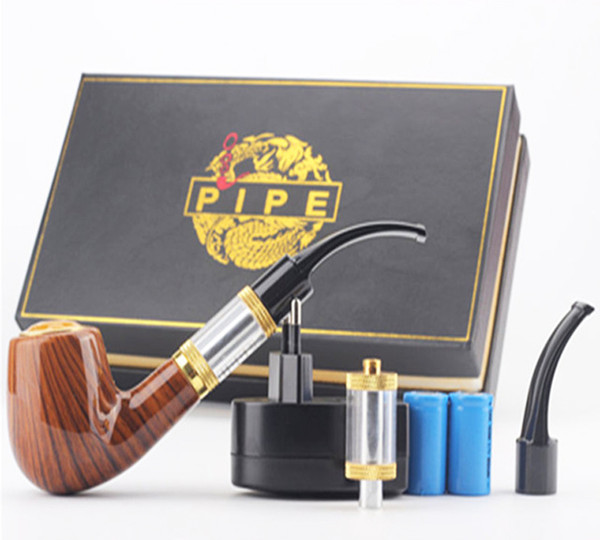 E-Cigarette ePipe 618 Kit 618 E-PIPE Starter Kit E pipe 618 electronic smoking pipe with wooden mod 2.5ml atomizer 18350 battery