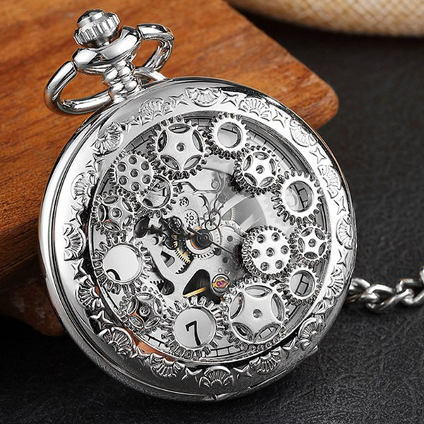 Antique Hollow Gears Silver Mechanical Pocket Watch Men Vintage Steampunk Fob Clock Male Necklace With Chain For Boy Girls Gift