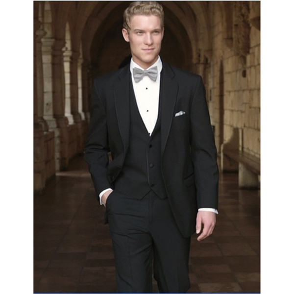 New Style Groom Tuxedo Two Buttons Groomsmen Wedding/Dinner Suits Best Man Bridegroom (Jacket+Pants+Tie+Vest)