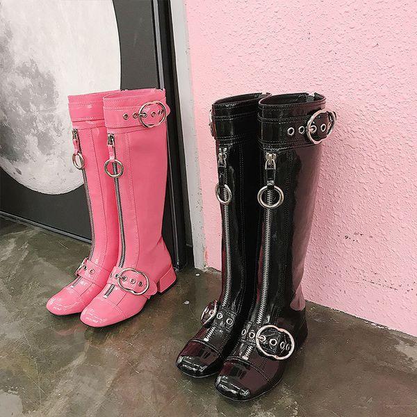 Stivali da donna lunghi con zip sul davanti Stivali tacchi a spillo Punta tonda Stivali alti al ginocchio Scarpe in vera pelle rosa nere per fibbie da donna