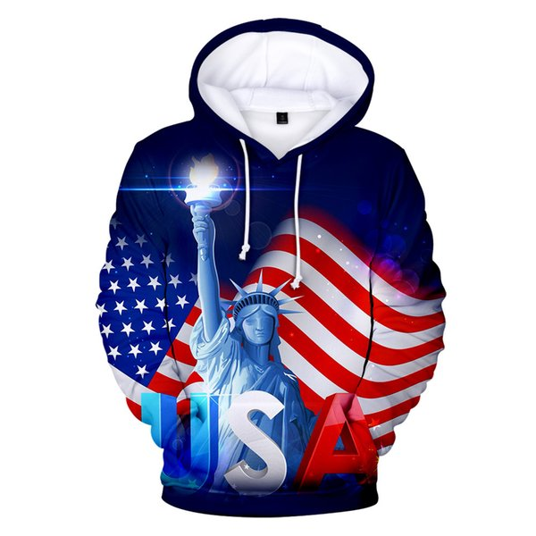 Trend Jacket Cross-border Hooded Sweater sales American Independence Day Trend personalized casual 3D zipper Hoodies Shirts