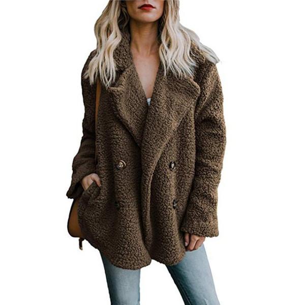 Le donne giacca invernale 2019 di moda nuovi maglioni doppiopetto risvolto allentate le donne del rivestimento della pelliccia outwear signore cappotto donne jacketMX190930