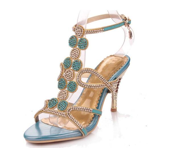 2019 Summer Women High Heels Rhinestone Sandals Female Fetish Gladiator Crystal Gem Heels Shoe Lady Gold Sexy Pumps SIZE 34-42 NXX111