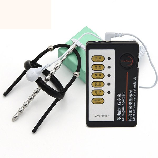 Electro Shock Sex Toys Set Urethral Plug For Men Penis Rings Electrical Stimulation Urethral Sounds Metal Cockring Electro Kit Y18110801