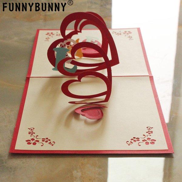 FUNNYBUNNY Fait à la main 3D Pop Up Love Heart Cartes d'anniversaire Cartes de souhaits créatives Papercraft (Love Heart)