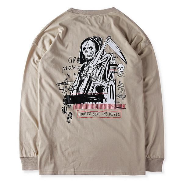Fear of God Мужские дизайнерские весенние футболки 19ss Skull Kanye Хип-хоп Топы с длинными рукавами с круглым вырезом