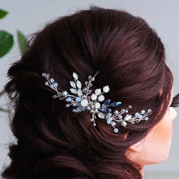 Copper Wire Newest 1Pcs/Lot Wedding Hair Combs Pins for Bride Silver Haircombs for Women Wedding Hair Ornaments Hair Accessories