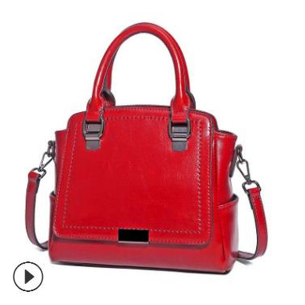 Lady Handbags 2018 New Pattern Genuine Leather Female Package Oil Wax Cowhide Fashion Demeanor Hundred Hand Lading Shoulder Slanting Satch