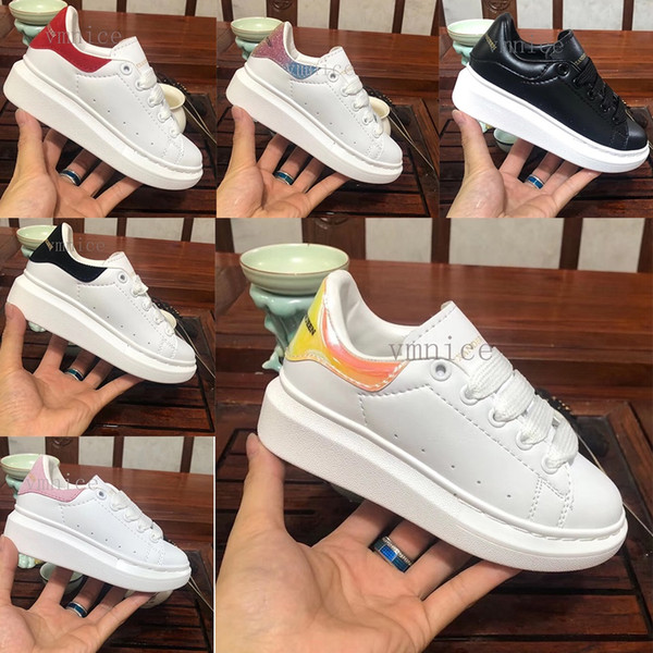 mcqueen 2019 Kadife çocuklar ayakkabı shoes enfants Platformu Rahat Ayakkabılar Lüks Tasarımcılar Ayakkabı Deri Beyaz AlexanderMcQueen
