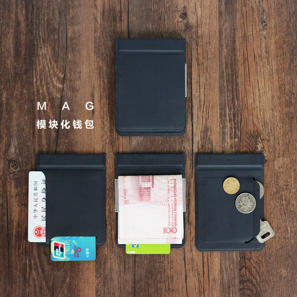 MAG Modular Magnético Combinación Dividir plástico Tarjeta de crédito Banco Titular de la caja Hombres cortos Monedero y monedero masculino Diseño