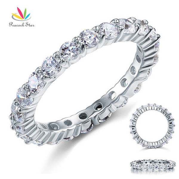 Peacock Star Solid 925 Sterling Silver Wedding Band Eternity Stacking Ring Jewelry Round Cut Cfr8061 J 190515