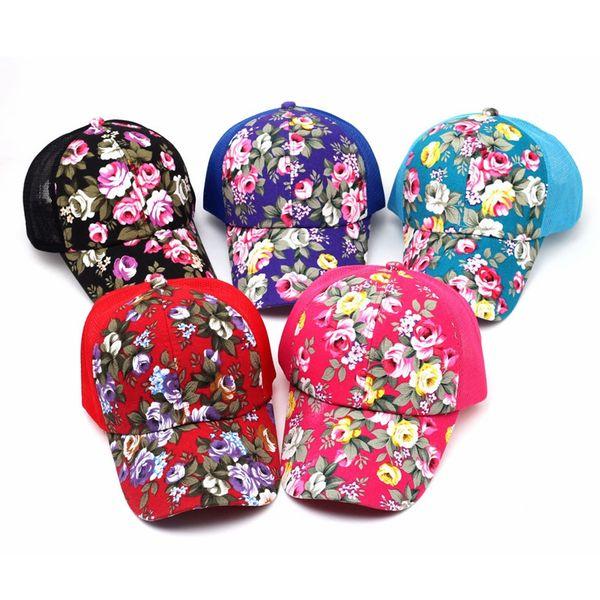 Floral Print Ponytail Baseball Cap Fashion Canvas Flower Mesh Sun Hat Outdoor Summer Women Travel Camping Sunscreen Hat TTA908