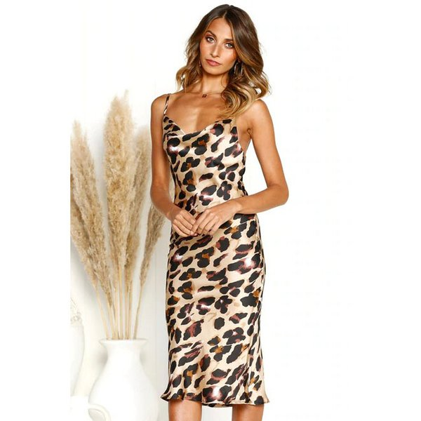 Vestidos de mujer 2019 Verano Nuevo Vestido con cuello en V Sexy Discoteca Vestido de leopardo Vestido de seda de moda