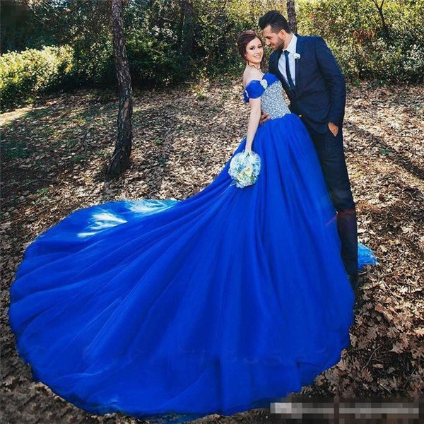 Royal Blue Wedding Gowns Off Shoulder Straps Puffy Princess Bridal Dresses Cinderella Sequins Beaded Bodice Tulle Bride Robe Wedding Dresses