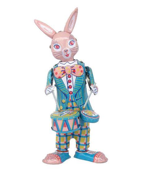 [ARRIBA] Colección clásica Reloj retro Conejito feliz Conejo arriba Metal Caminando lata Jugar tambor conejo robot Juguete mecánico