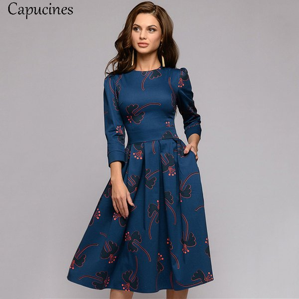 Capucines Navy Blue 3/4 Sleeves Printed Dress Women 2019 Spring Summer Vintage Pocket A-line Casual Dress Elegent Party Vestidos J190601