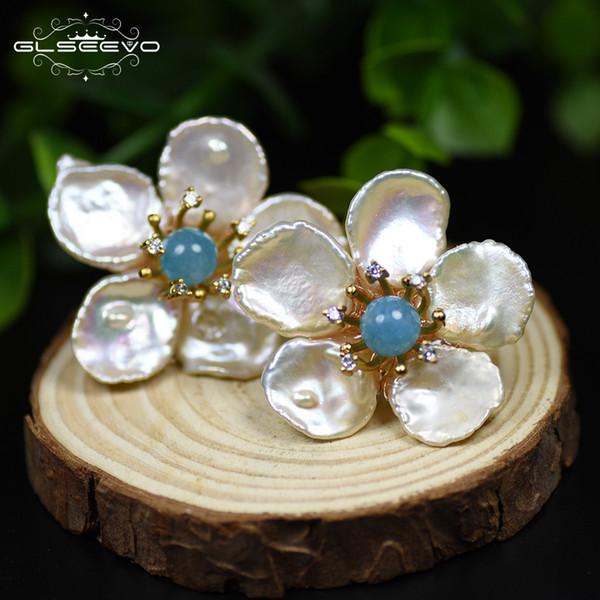 Glseevo Natural Fresh Water Baroque Pearl Amazonite Flower 925 Sterling Silver Stud Earring For Women Fine Jewellery Ge0597 MX190720