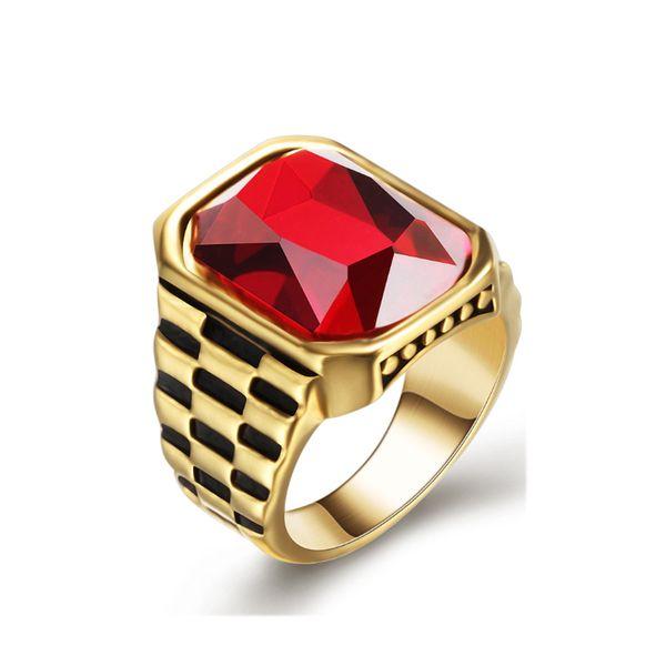 Weinlese-Goldsilber-Titanstahl-Ring für Mann-Schmucksache-geometrische Edelstein-Uhr-Kette prägeartige Art- und Weiseringe Freier Verschiffen-Großverkauf