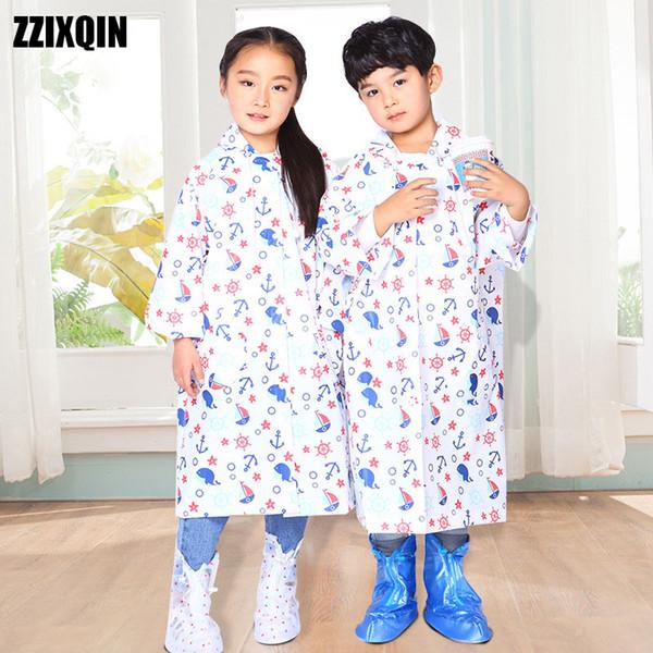 ZZIXQIN 2018 Enfants Imperméable Nouveau Mode Garçon Sac À Dos Long Fine Fine Confort Lâche Enfants Camo Raincoat XY-29