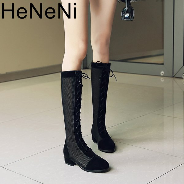74009a6581d83 Summer Women Hollow Knee High Sandals Boots Shoes Women Mesh High Lace-up  Gladiator Sandals