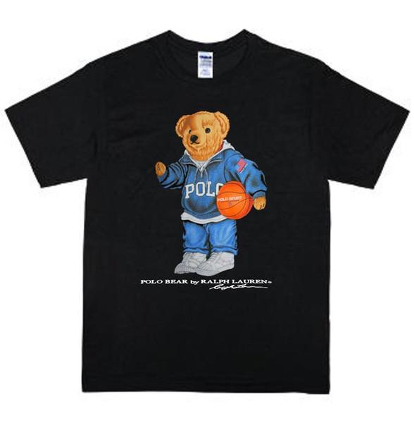 Урожай Polo Медведь Play Basket майка размер S-2XL Перепечатка RareFunny свободная перевозка груза Unisex вскользь тенниска дропшиппинг