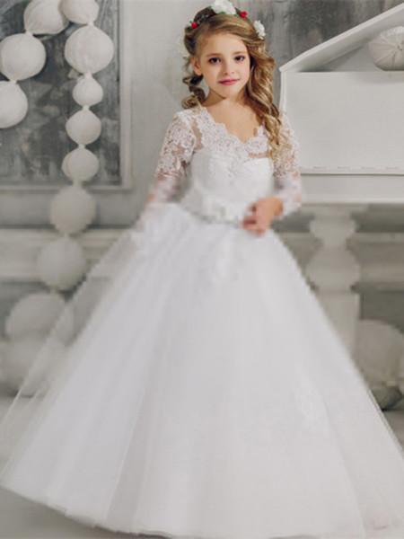 2020 Пляж Цветочница платье белого цвета слоновой кости Boho Первое причастие платье для маленькой девочки с длинным рукавом платье Дети Свадьба