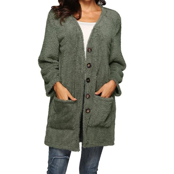 Fleece Sweater Women Cardigan Female Warm Cotton Sweater Veste Femme Pockets button Long Kimono Cardigan Fashion Coat