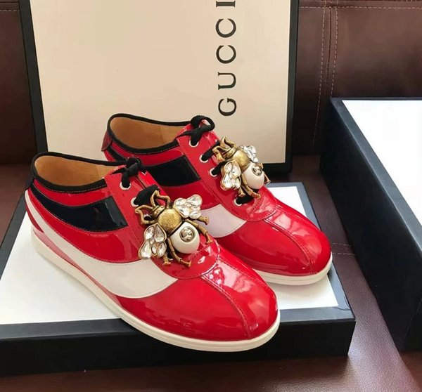 Ting2594 9837 Spring Lackleder Stitching Bee Butterfly Sneakers Sneakers Abendschuhe Skate Dance Ballerinas Loafers Espadrilles
