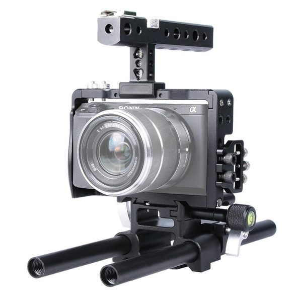 Freeshipping DSLR Rig 15mm Rod Rig Handheld Grip Video aluminum alloy Camera Cage Steadicam Stabilizer for Sony A6500 A6300 A6000