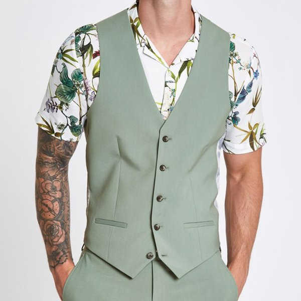 Spring Smmer Green Mens Designer Wedding Vest Slim Fit Groom Clothes Formal Men Custom Made Waistcoat Suits