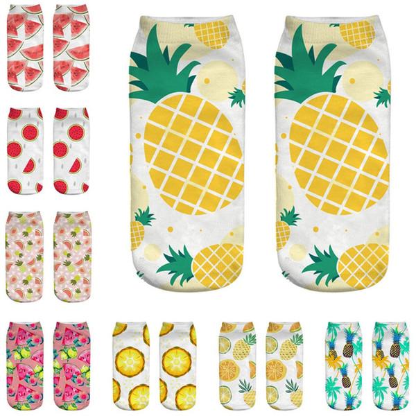 Socks women Cute Work Cotton Sock 3D Fruit Watermelon Pineapple Print Medium Comfortable Japanese Harajuku skateboard Socks