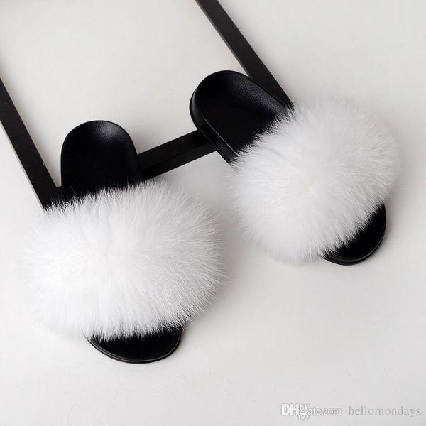Echtpelz Hausschuhe Frauen Fox Hause Flauschige Sliders Komfort Mit Federn Pelzigen Sommer Wohnungen Süße Damen Schuhe Große
