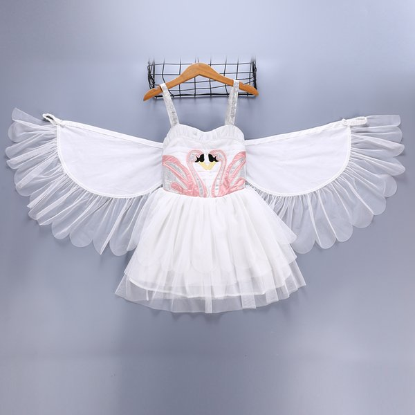 A menina caçoa o vestido branco de Susperder do verão do vestido da cisne da roupa com mostra elegante B11 da mostra da dança da asa do anjo