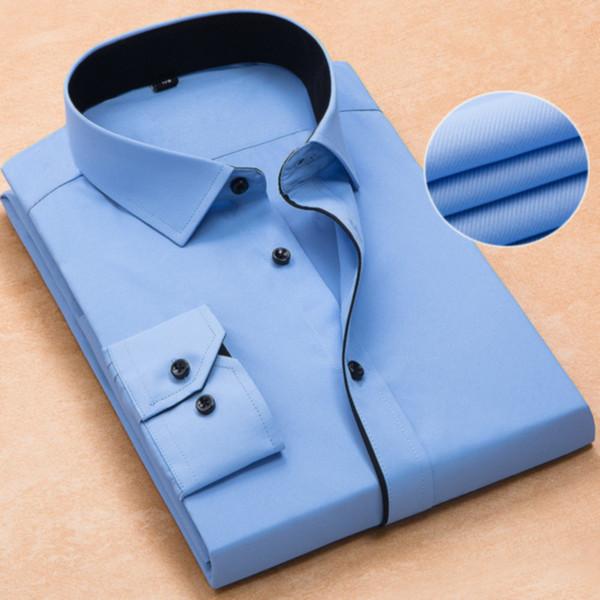 Camicia da uomo Moda da uomo Maniche lunghe Casual Tinta unita da uomo Business Office Abiti da lavoro ufficiali da uomo