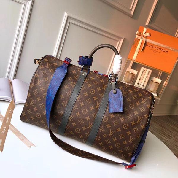 # 9875 5A L Марка V Keepall BANDOULIERE большой емкости Женщина Дорожной сумка 45см Мужчина плечо вещевой мешок Carry багаж Keepall сумка N40166 M41418